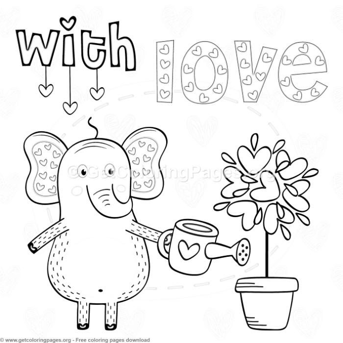 Elephant In Love With Coloring Pages