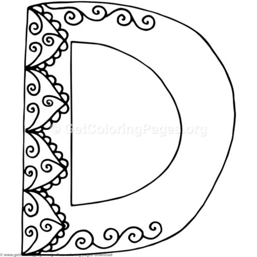 Flower Inspired Alphabet Letter D Coloring Pages