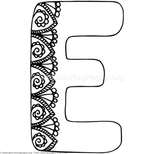 Flower Inspired Alphabet Letter E Coloring Pages