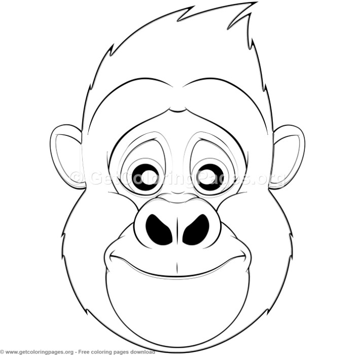 Gorilla-Animal-Face-Mask Letter L Animal Craft Template on for preschoolers, free printable alphabet,