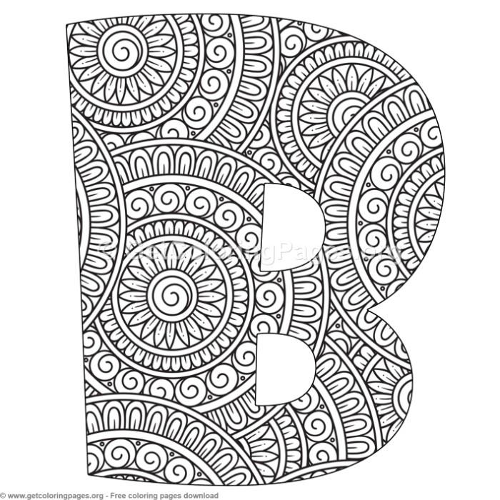 Mandala Alphabet Letters B Coloring Pages