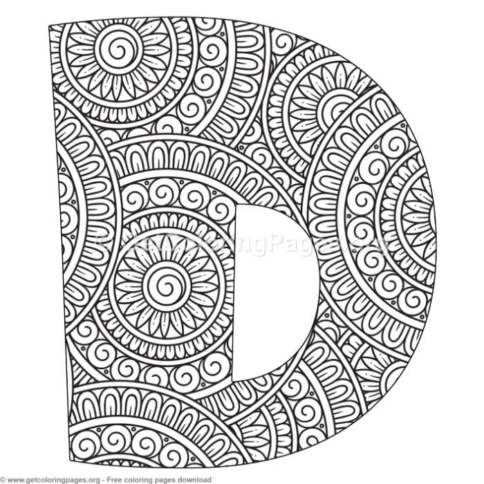 mandala alphabet letters d coloring pages