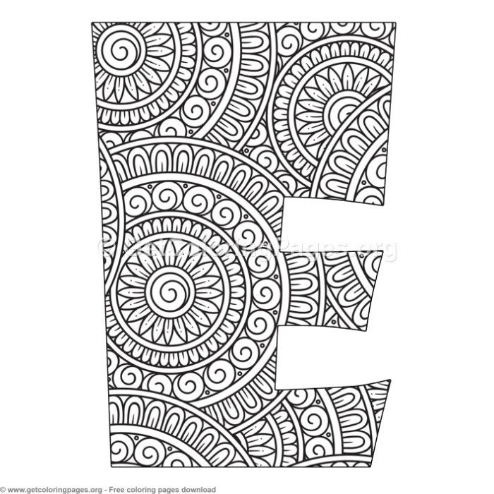 Mandala Alphabet Letters E Coloring Pages