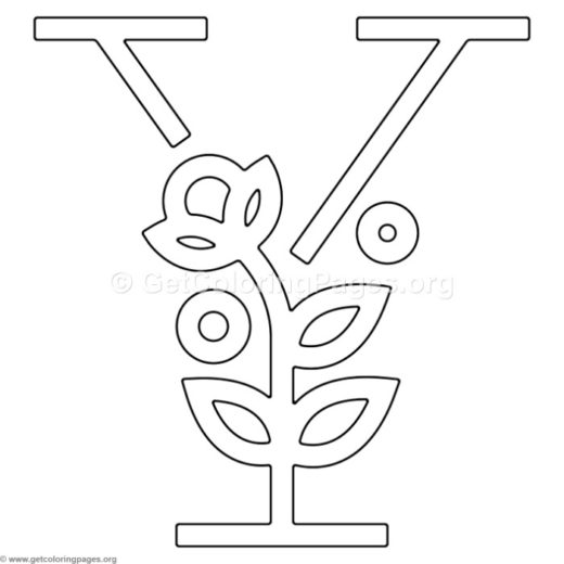 modern flower alphabet letter y coloring pages