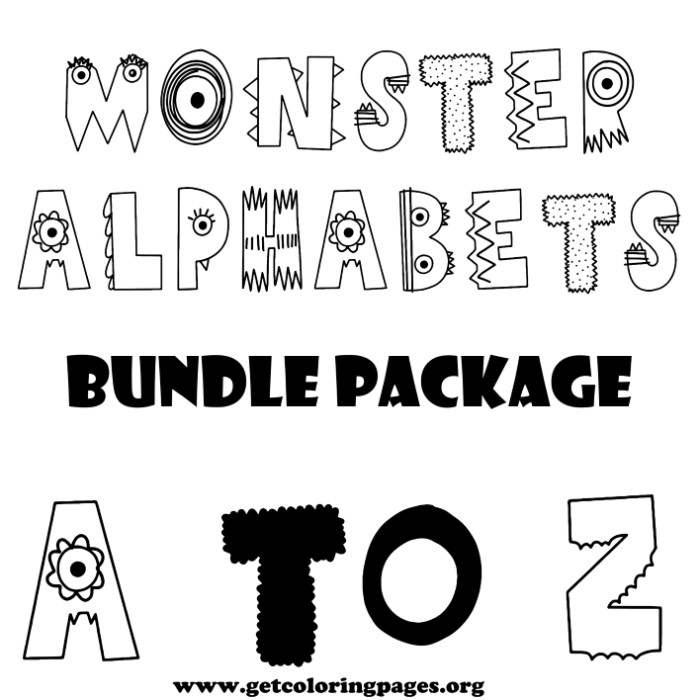 monster alphabet letter a to z coloring pages getcoloringpages org