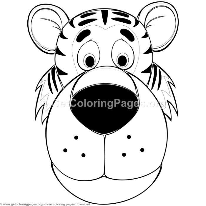 Tiger Animal Face Mask Coloring