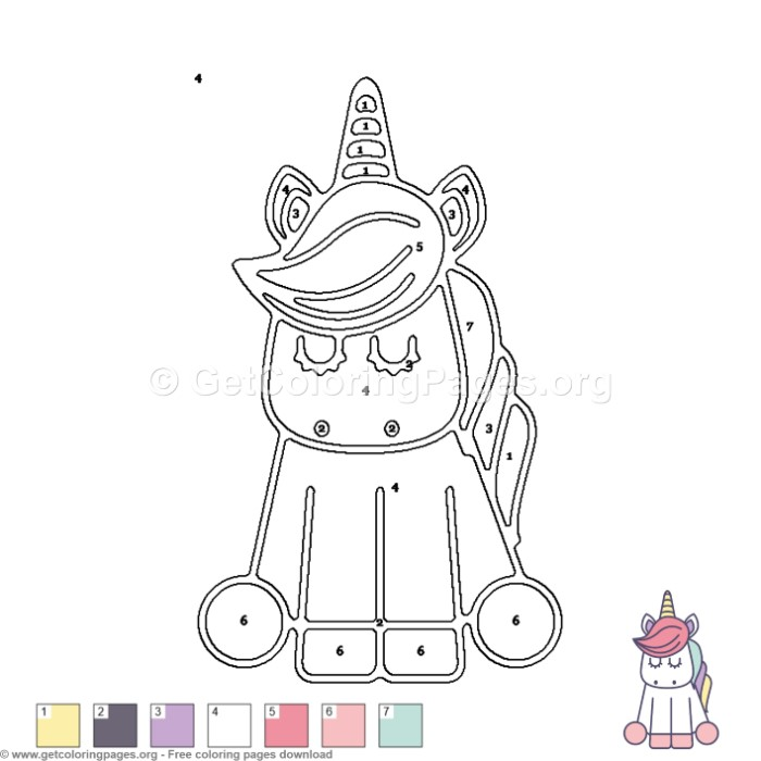 Unicorn Color by Number Coloring Pages - GetColoringPages.org