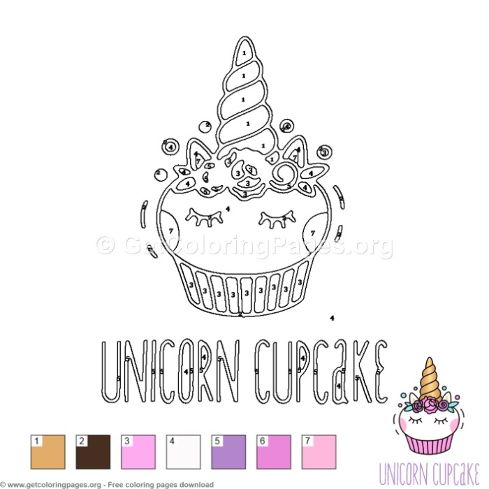 Unicorn Cupcake Color by Number