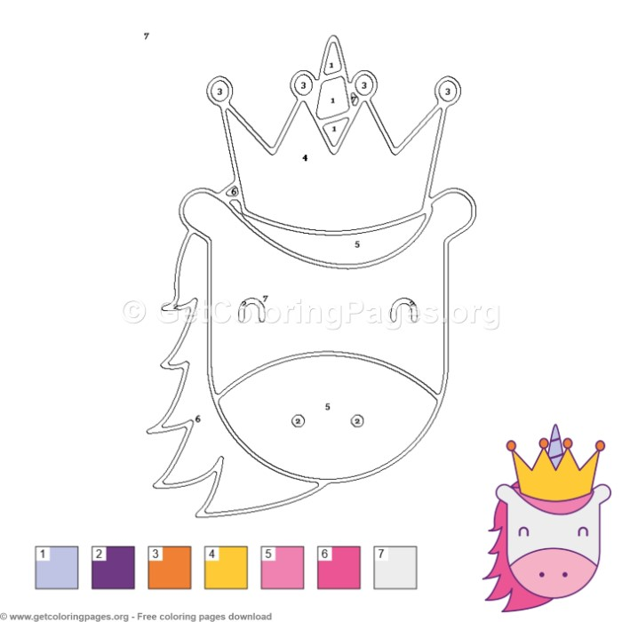 Unicorn with Crown Color by Number - GetColoringPages.org