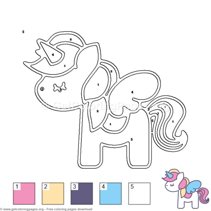 Unicorn with Wings Color by Number Coloring Pages ...