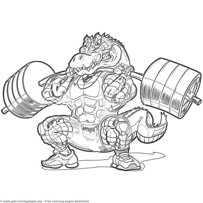 Weightlifting alligator coloring pages for Weightlifting coloring pages