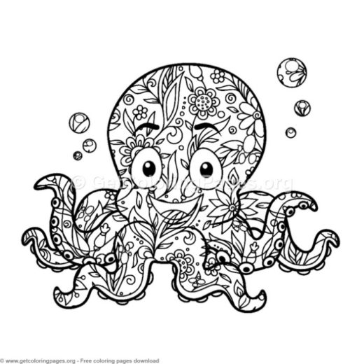 zentangle cartoon octopus coloring pages