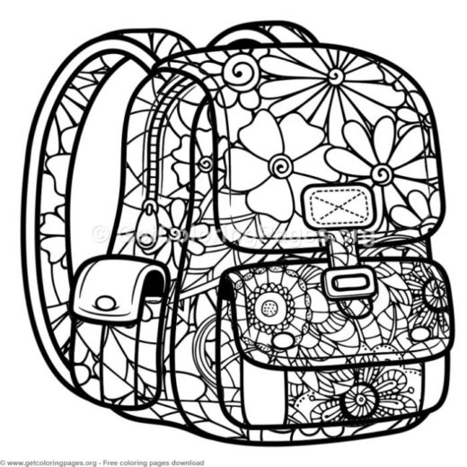 zentangle school bag coloring pages