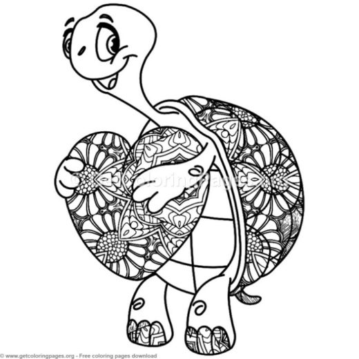 zentangle turtle holding a heart coloring pages