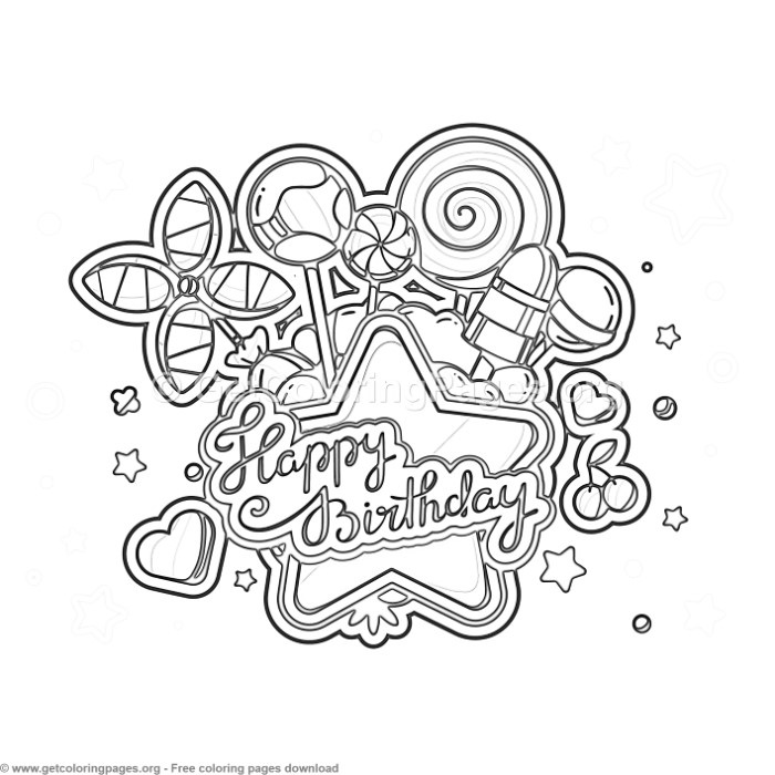 2 Happy Birthday Coloring Pages GetColoringPagesorg