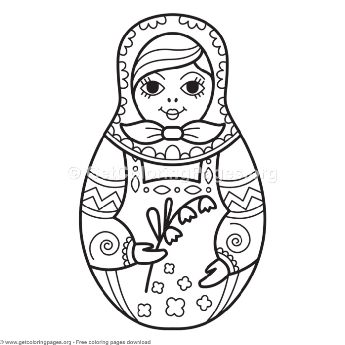 2 Russian Nesting Doll Coloring Pages Getcoloringpages Org