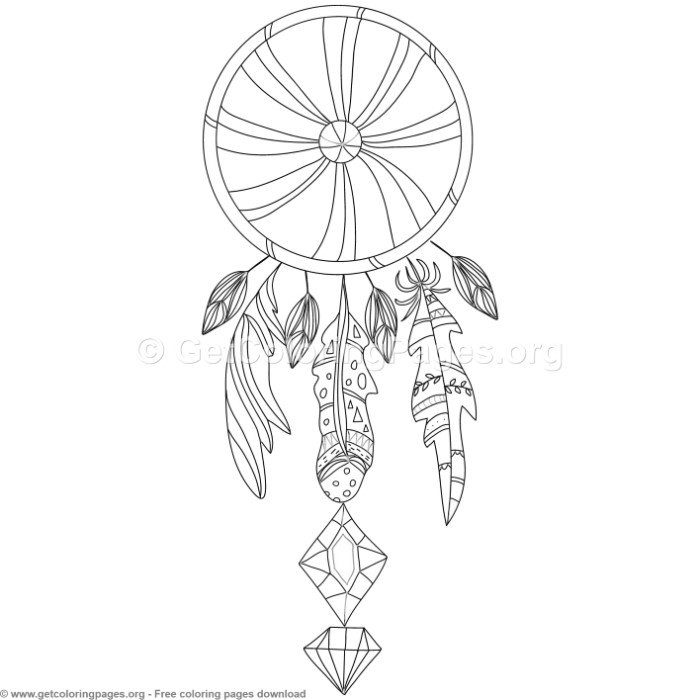 3 Boho Style Dream Catcher Coloring Pages