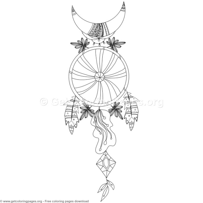 5 Boho Style Dream Catcher Coloring Pages