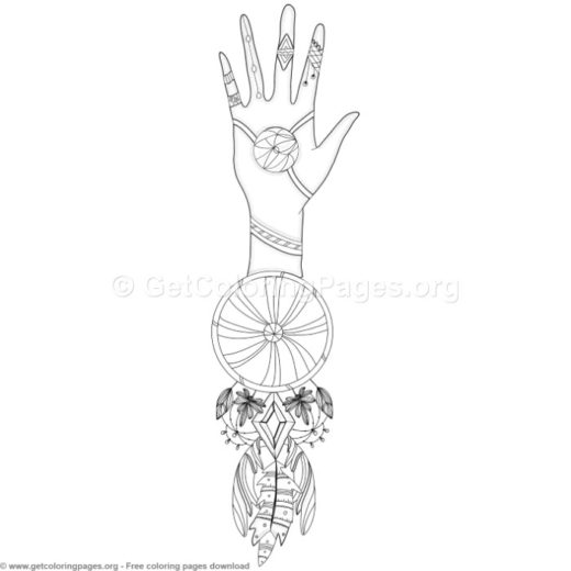 6 Boho Style Dream Catcher Coloring Pages
