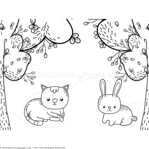 Cat And Bunny In The Park Coloring Pages