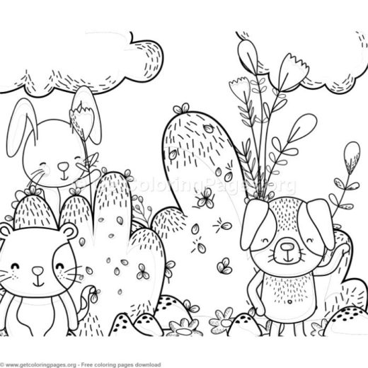 Dog Cat And Bunny Forest Animals Coloring Pages