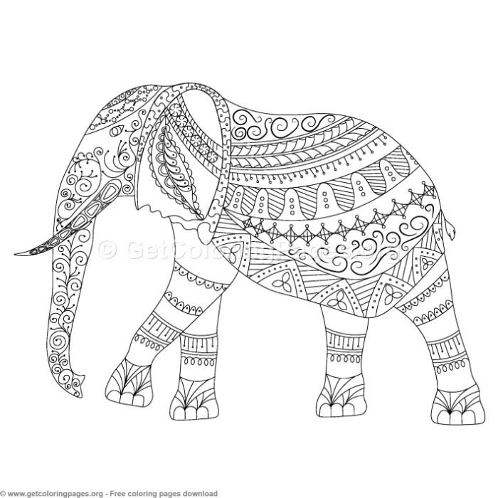 Free zentangle elephant coloring pages ~ Elephant Zentangle Coloring Pages – GetColoringPages.org