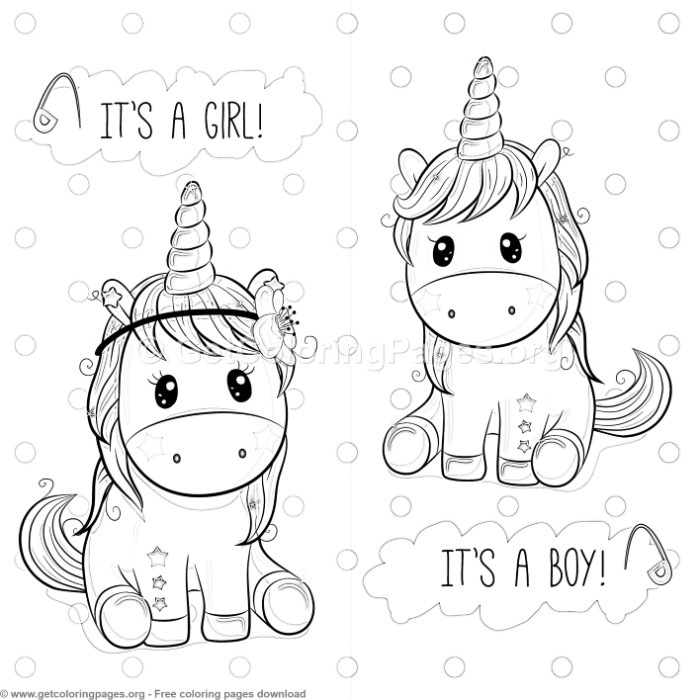 Its A Boy Girl Unicorn Coloring Pages