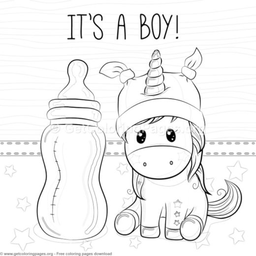 Its A Boy Unicorn Coloring Pages