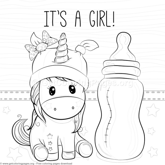 Its A Girl Unicorn Coloring Pages