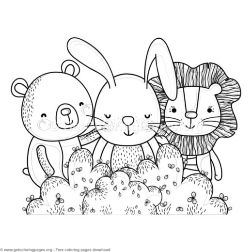 Lion Bear And Bunny Forest Animals Coloring Pages