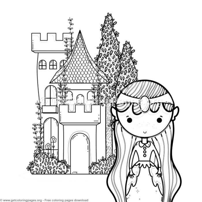 Magic World Little Princess And Castle Coloring Pages