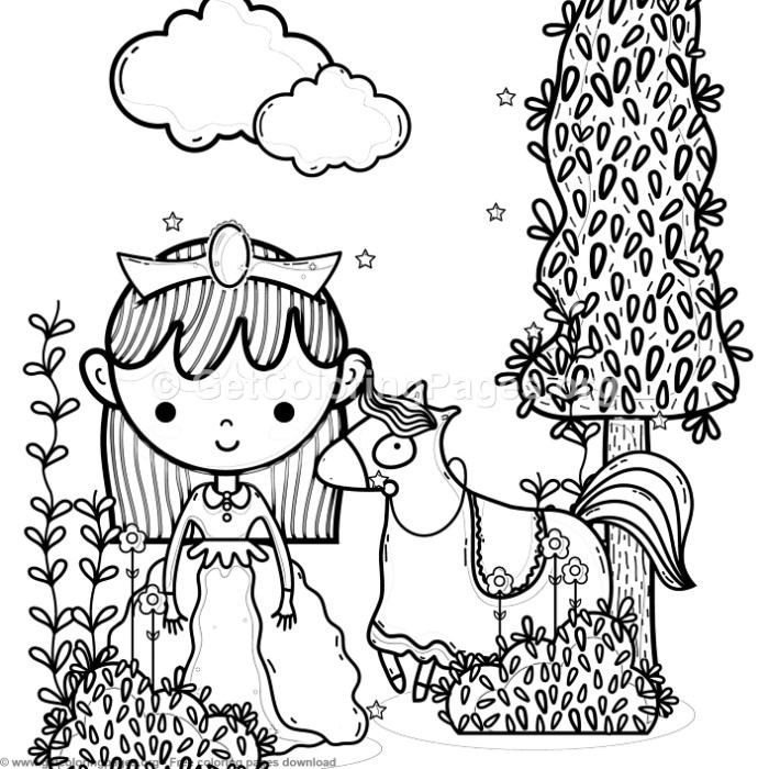 Magic World Little Princess and Horse Coloring Pages ...