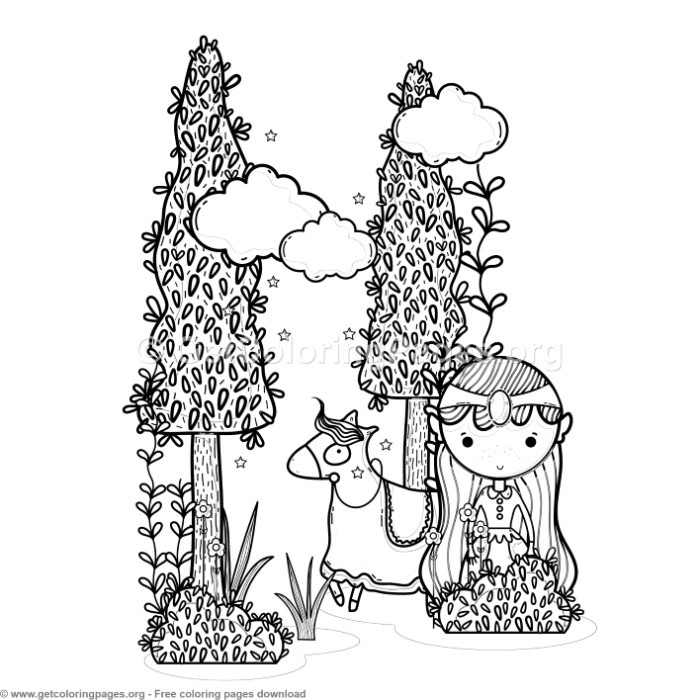 Magic World Princess And Horse Coloring Pages Getcoloringpages Org