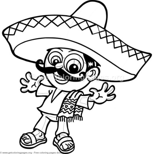Mexican With Sombrero Coloring Pages