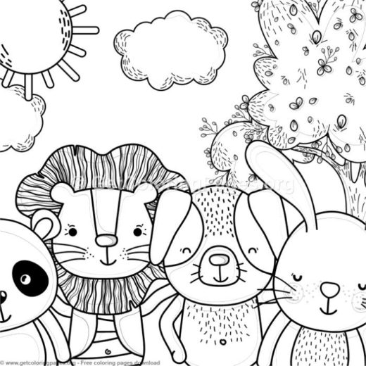 Panda, Lion, Dog And Bunny Forest Animals Coloring Pages