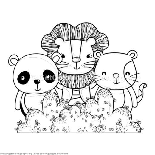 Panda Lion And Cat Forest Animals Coloring Pages