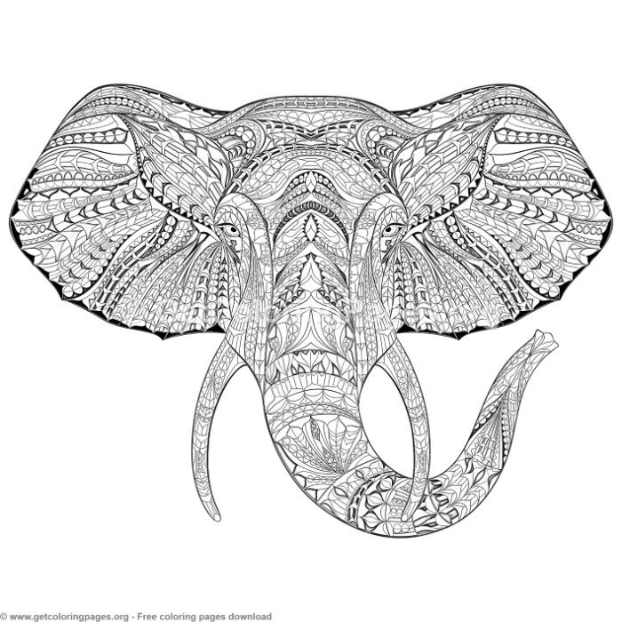 Free zentangle elephant coloring pages ~ Patterned Zentangle Elephant Coloring Pages ...
