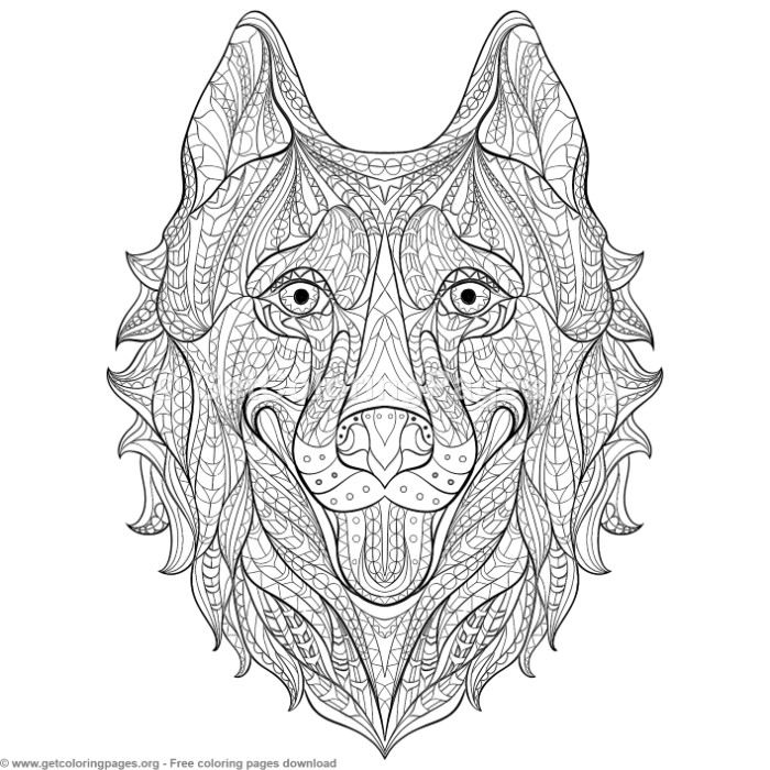 Patterned Zentangle Husky Coloring