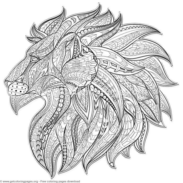 Patterned Zentangle Lion Coloring Pages Getcoloringpages Org