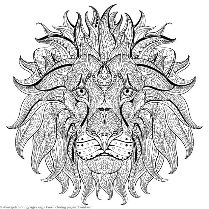 Patterned Zentangle Lion Head Coloring Pages