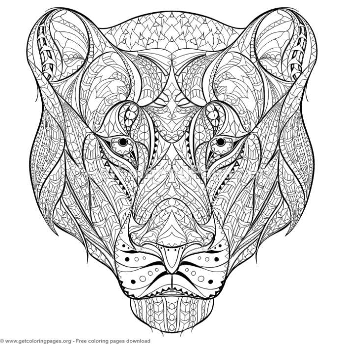 Patterned Zentangle Lioness Coloring Pages