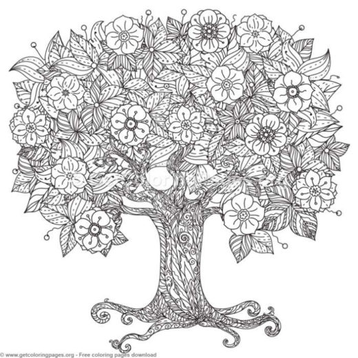zentangle tree coloring page getcoloringpages org
