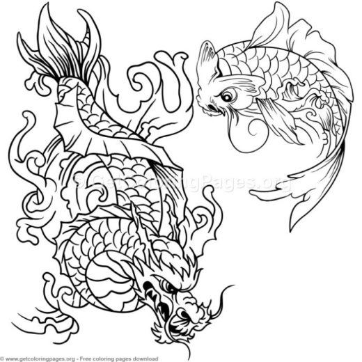 11 Koi Fish Coloring Pages
