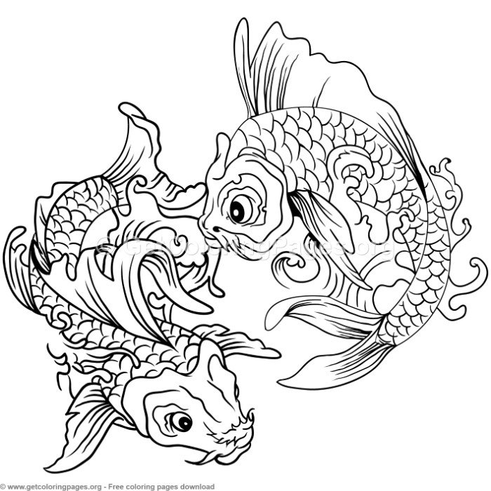 12 Koi Fish Coloring Pages