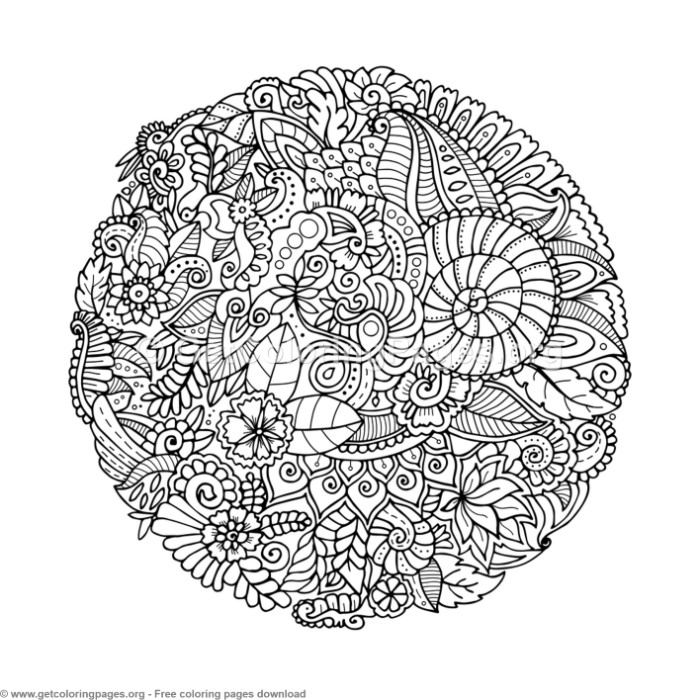 16 Zentangle Round Mandala Coloring Pages GetColoringPagesorg