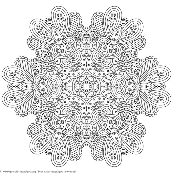 18 Zentangle Round Mandala Coloring Pages ...