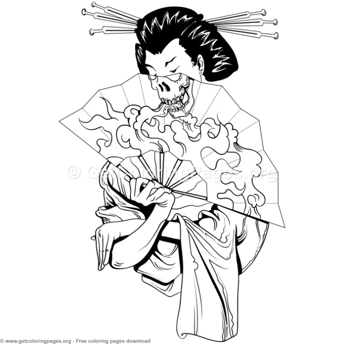2 Japanese Geisha Coloring Pages
