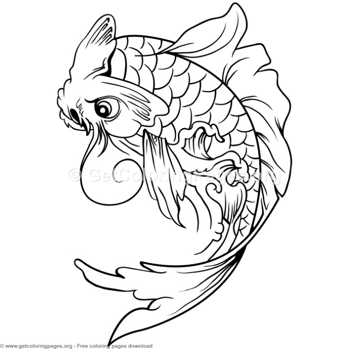 2 Koi Fish Coloring Pages
