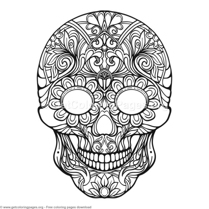 2 Zentangle Sugar Skull Coloring Pages Getcoloringpages Org