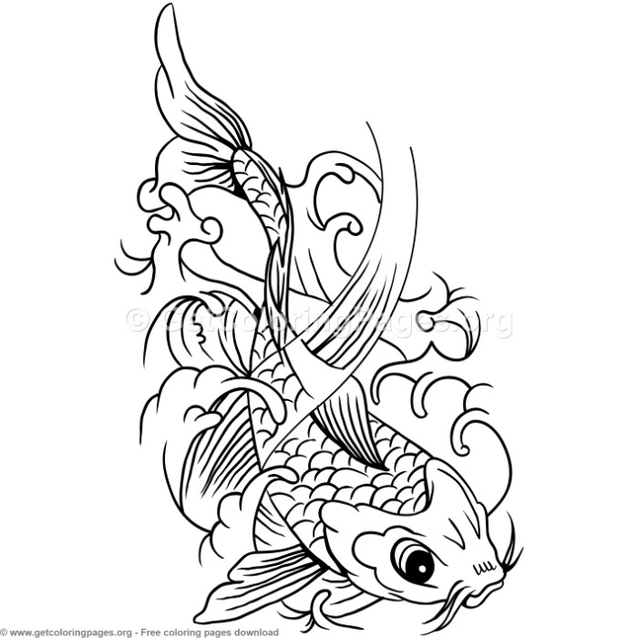 4 Koi Fish Coloring Pages